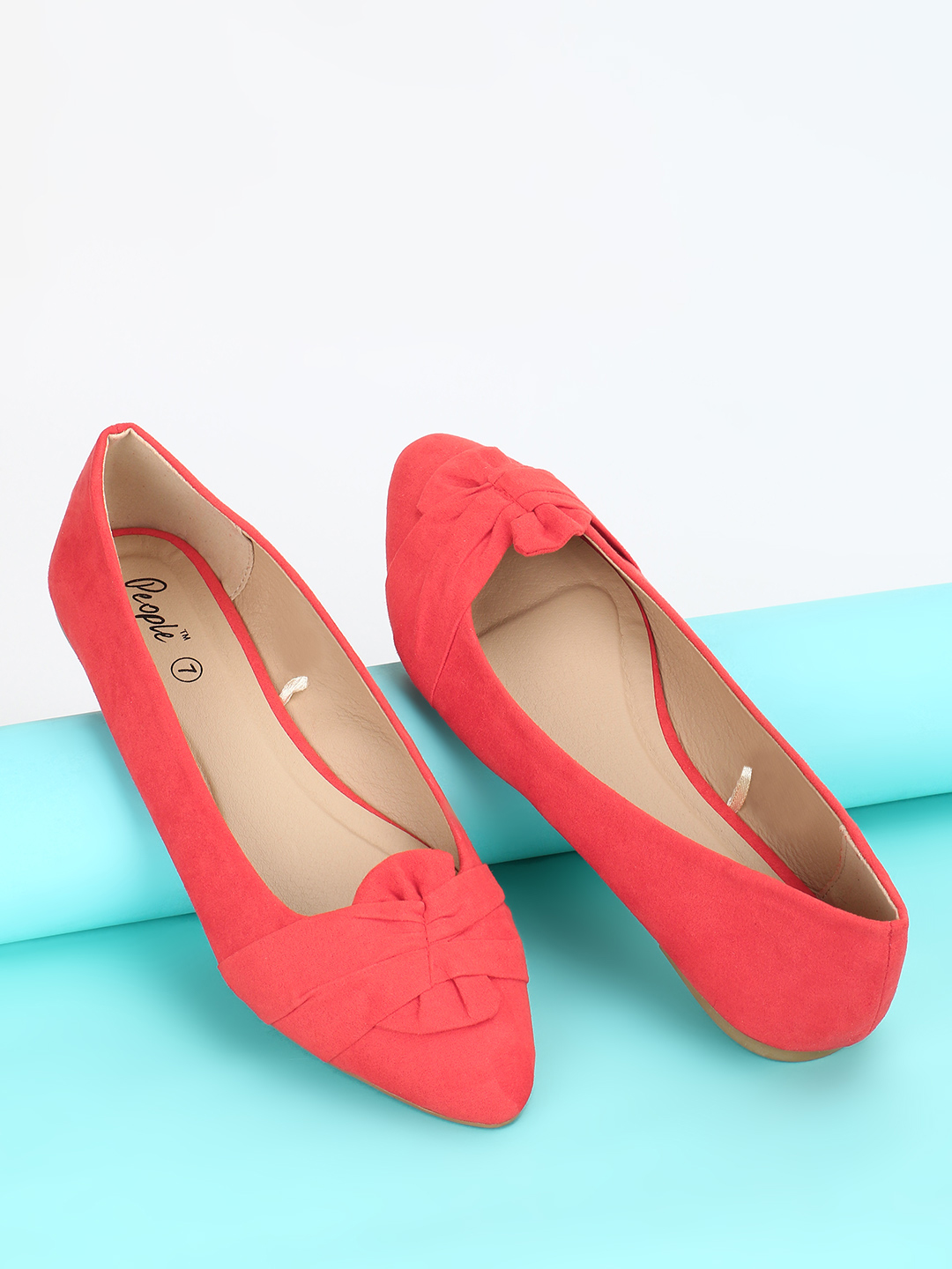 People Red Suede Bow Detail Ballet Pumps 1