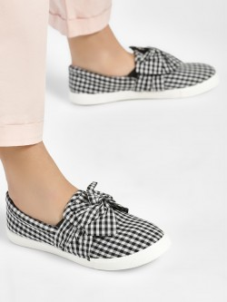 People Gingham Check Bow Flat Shoes