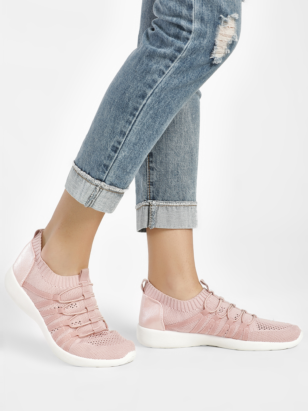 People Pink Knitted Flywire Sockliner Trainers 1