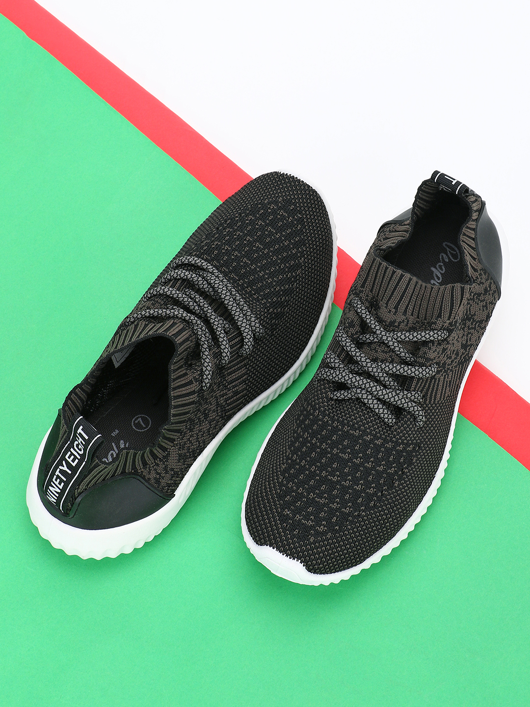 People Black Printed Tape Sockliner Training Shoes 1