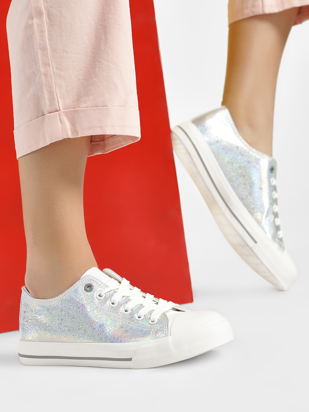 People Silver Holographic Lace-Up Canvas Shoes 1