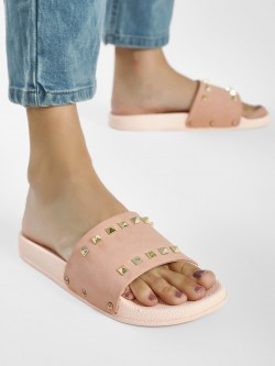 People Stud Detail Flat Slides