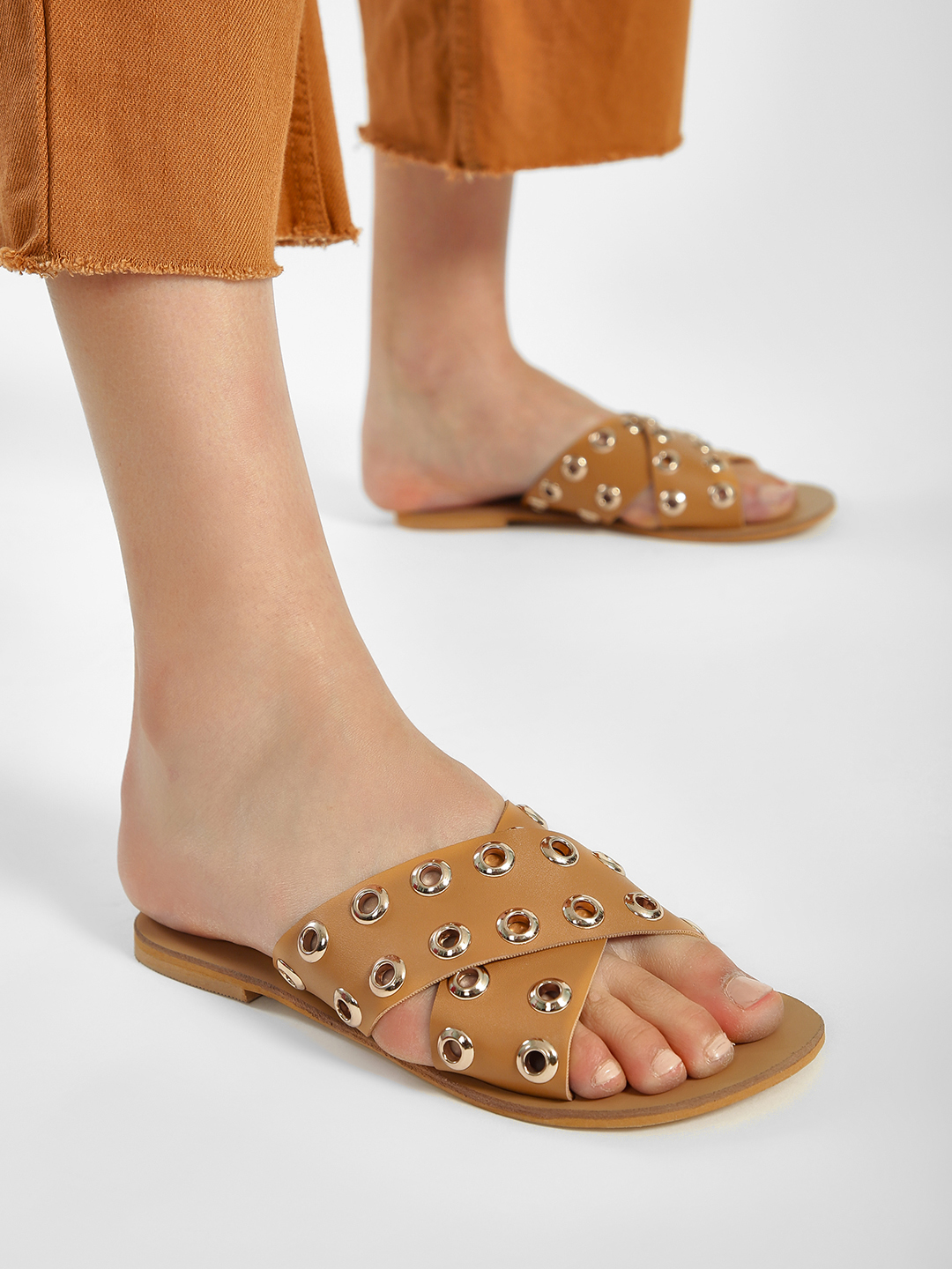 People Brown Eyelet Cross Strap Flat Sandals 1