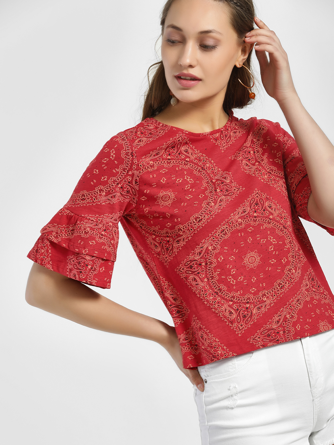 People Red Paisley Print Tier Sleeve Blouse 1