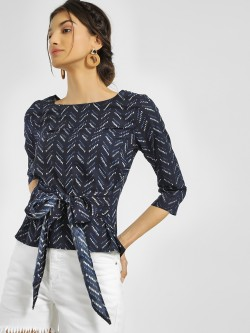 People Geometric Print Front Knot Blouse