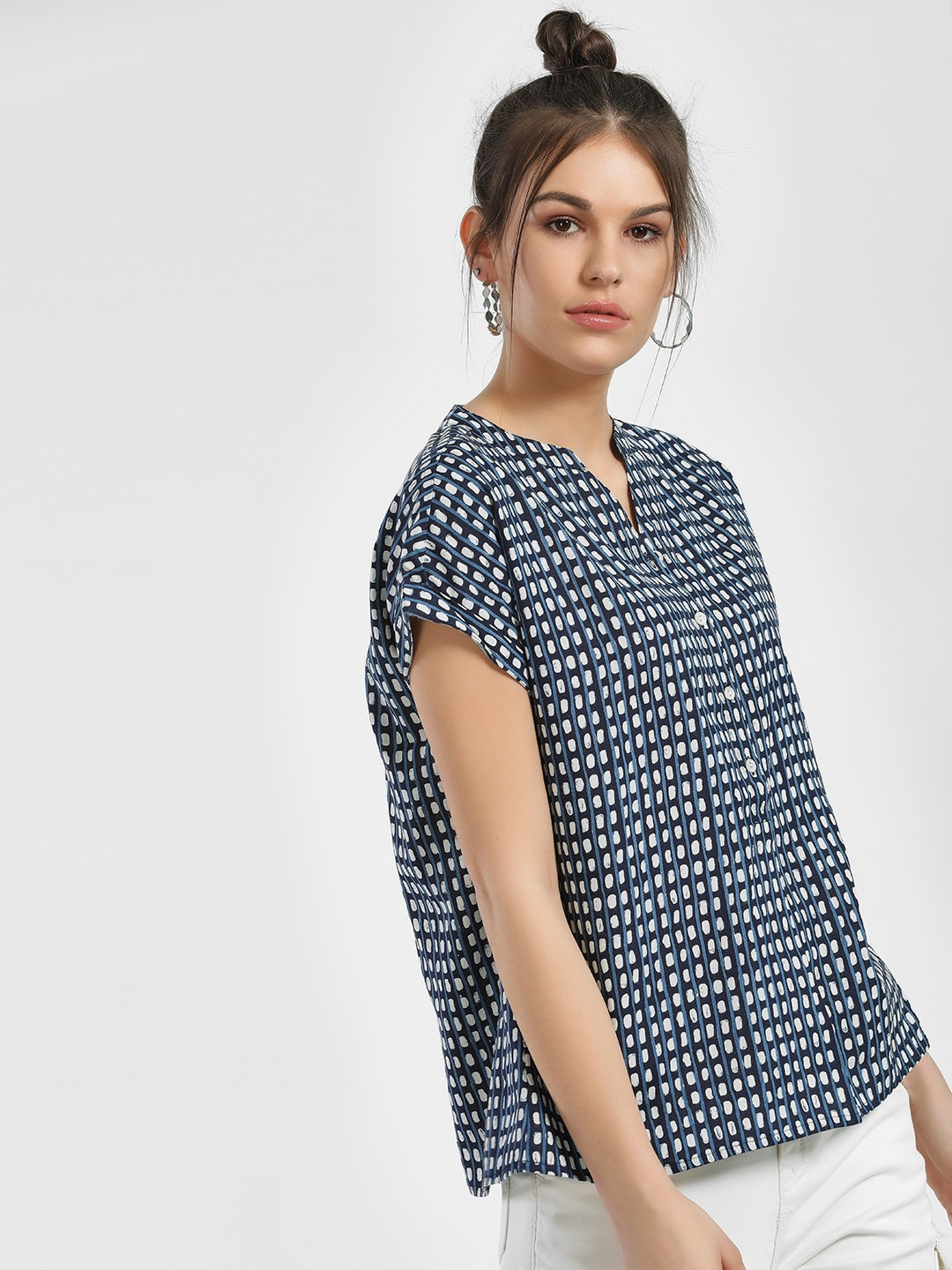 People Blue All Over Printed Blouse 1
