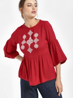 People Moroccan Embroidered Yoke Blouse