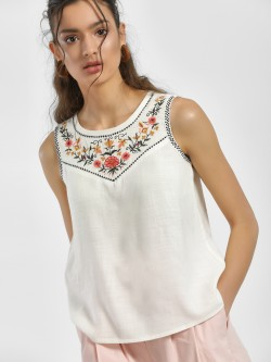 People Floral Embroidered Sleeveless Blouse