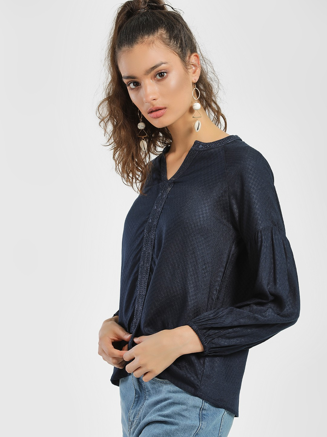 People Navy Embroidered Border Mandarin Collar Blouse 1