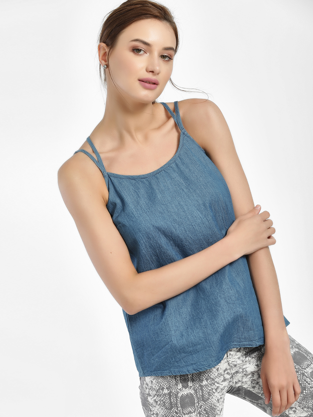 People Blue Double Strap Chambray Top 1