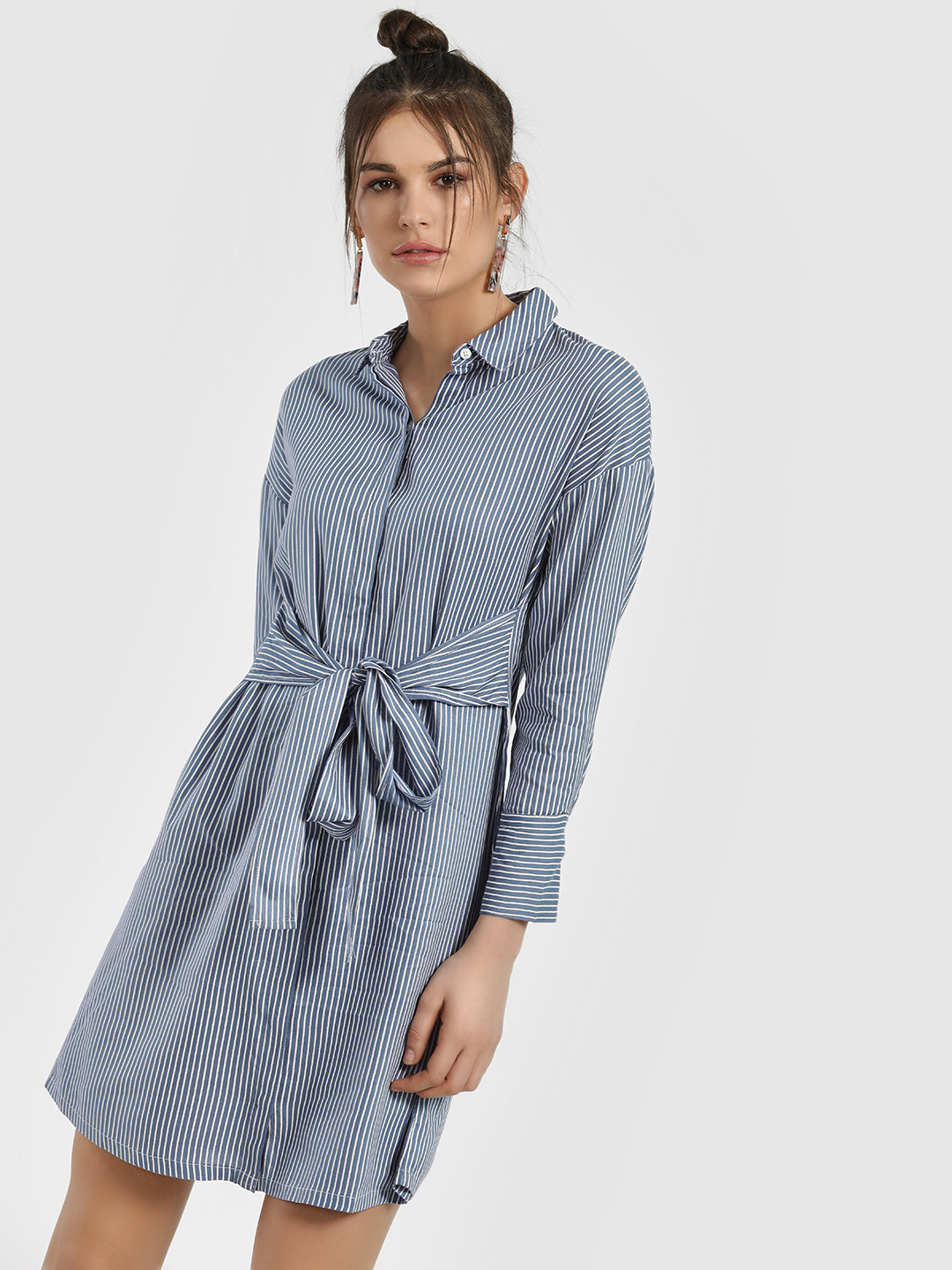 People Blue Vertical Stripe Shift Dress 1