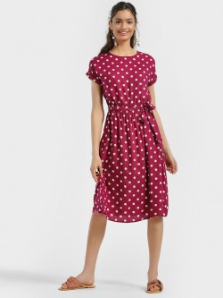 People Polka Dot Print Skater Dress