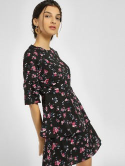 People Floral Print Layered Shift Dress