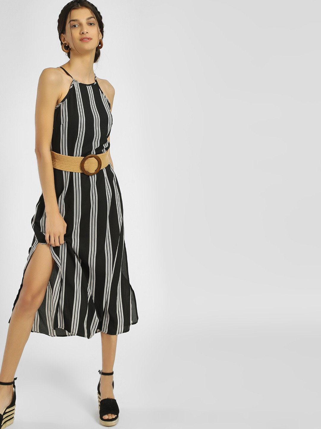 People Black Black Vertical Stripe Maxi Dress 1