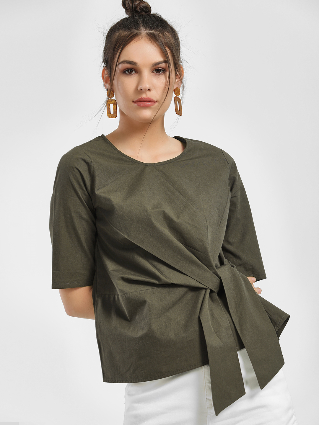 People Grey Front Tie-Knot Blouse 1