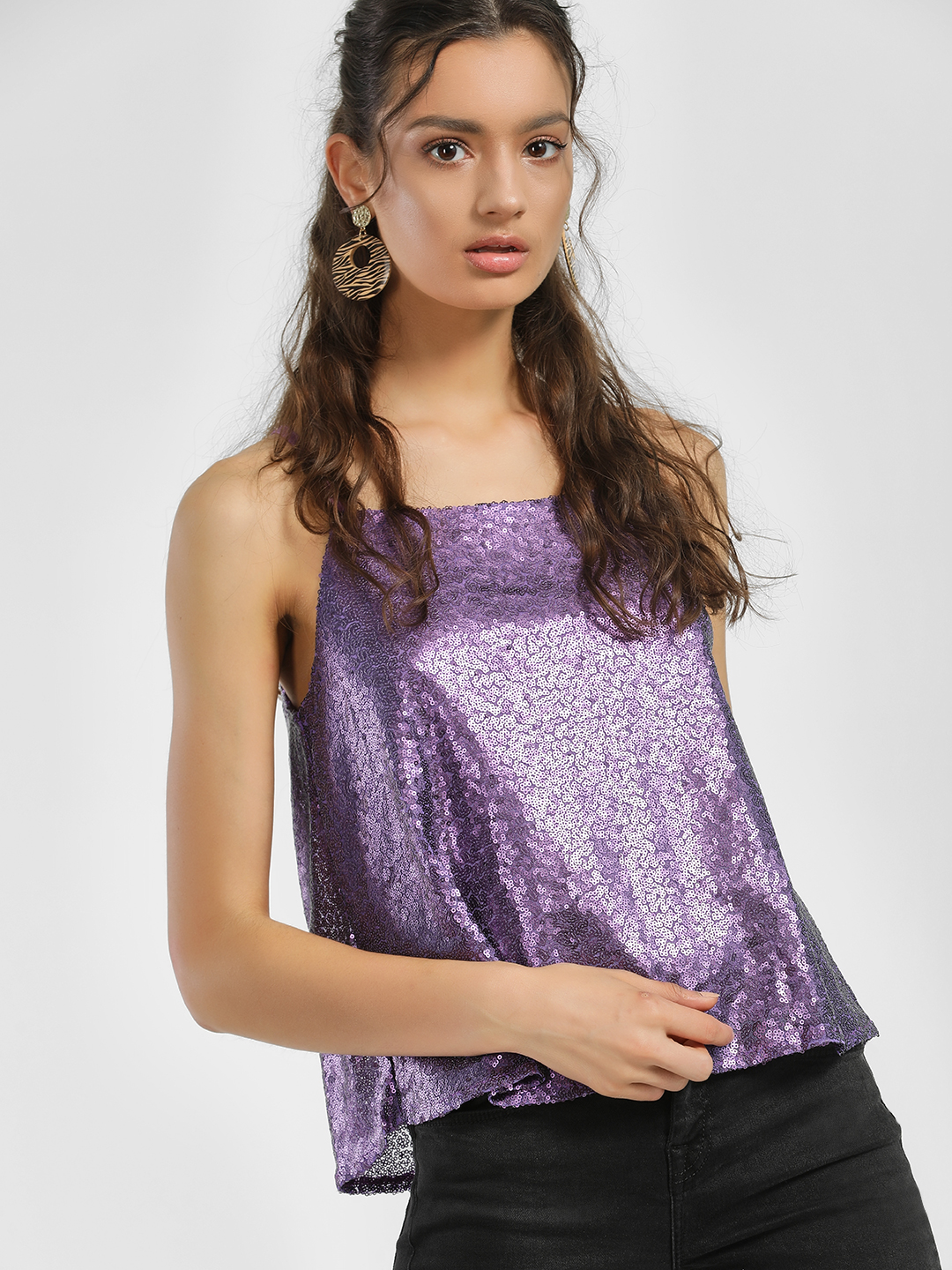 People Purple Square Neck Sequinned Cami Top 1