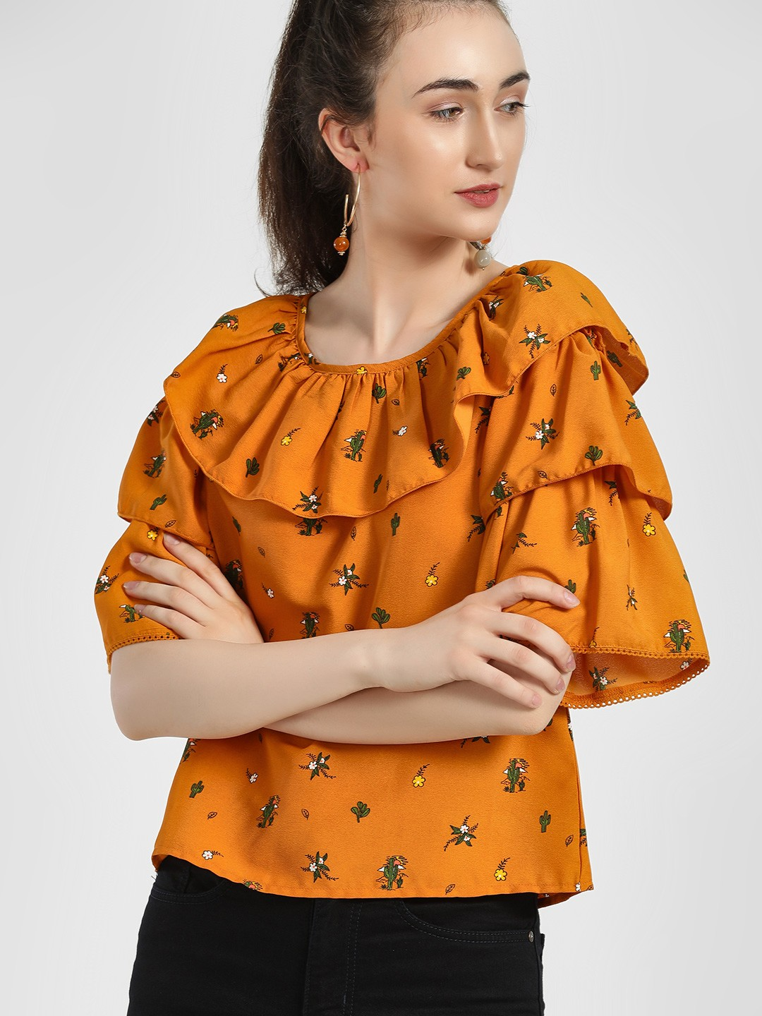People Orange All Over Printed Tiered Blouse 1