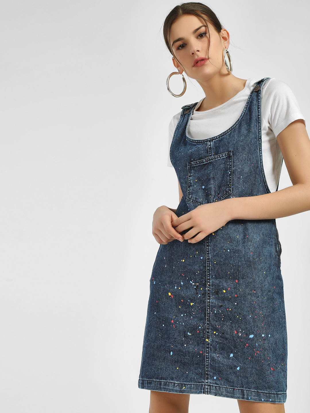 People Blue Splatter Print Pinafore Denim Dress 1