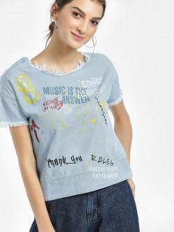People Slogan Splatter Print Denim Top