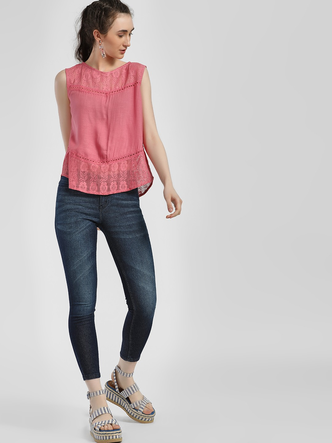 People Blue Mid-Wash Cropped Skinny Jeans 1