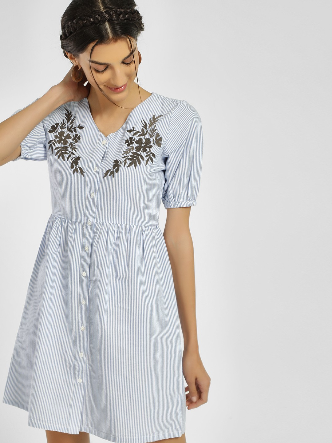 People Blue Floral Embroidered & Striped Shift Dress 1