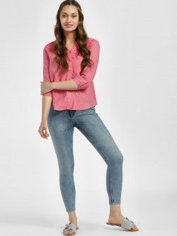 People Bleach Wash Cropped Skinny Jeans