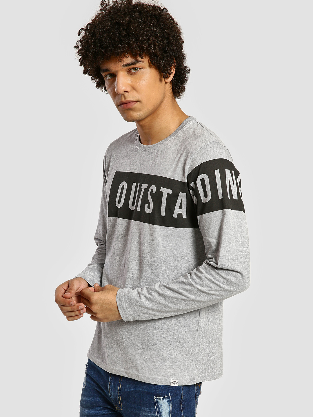 Lee Cooper Grey Text Print Long Sleeve T-Shirt 1