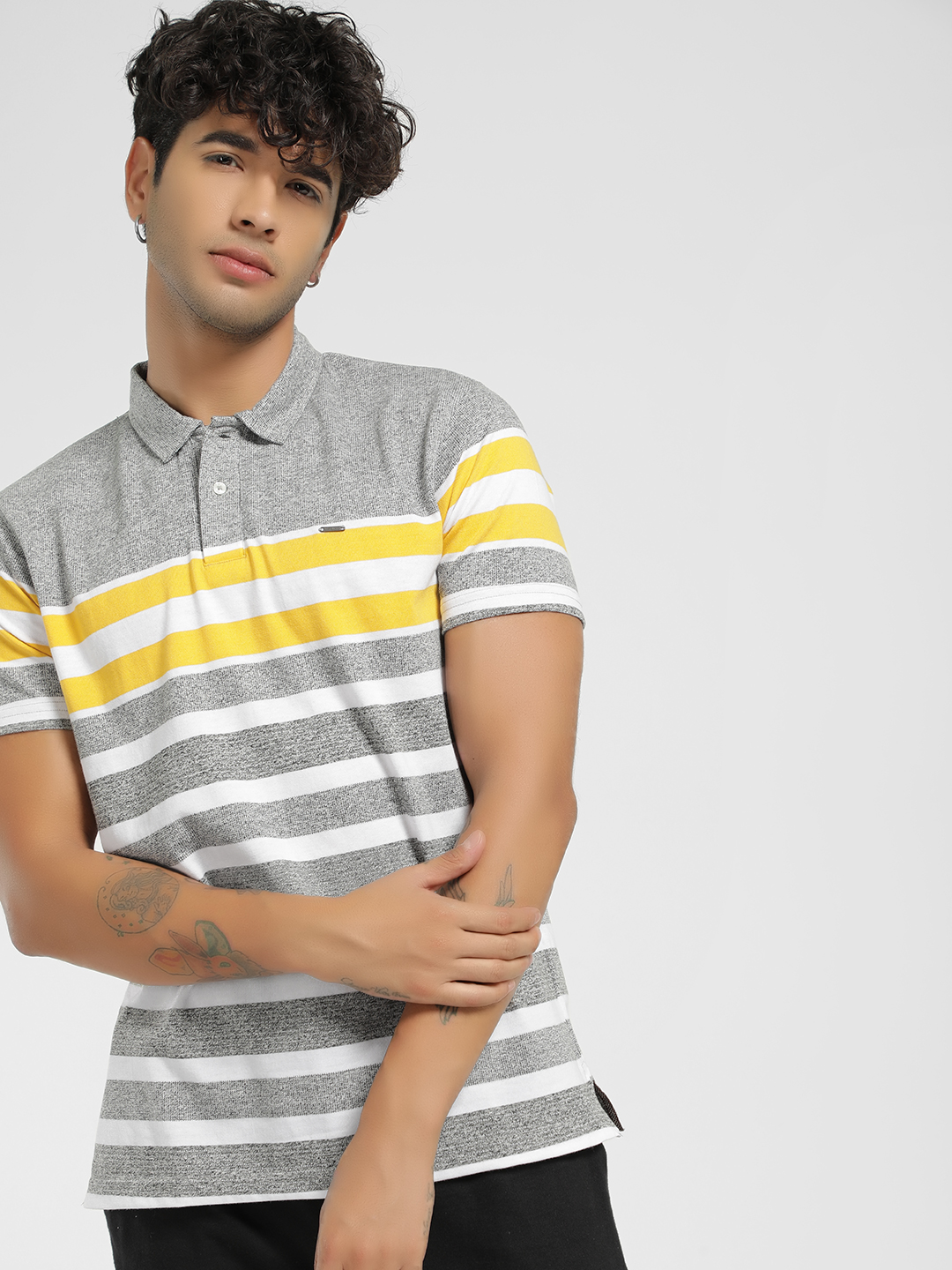 Lee Cooper Grey Woven Stripe Polo Shirt 1