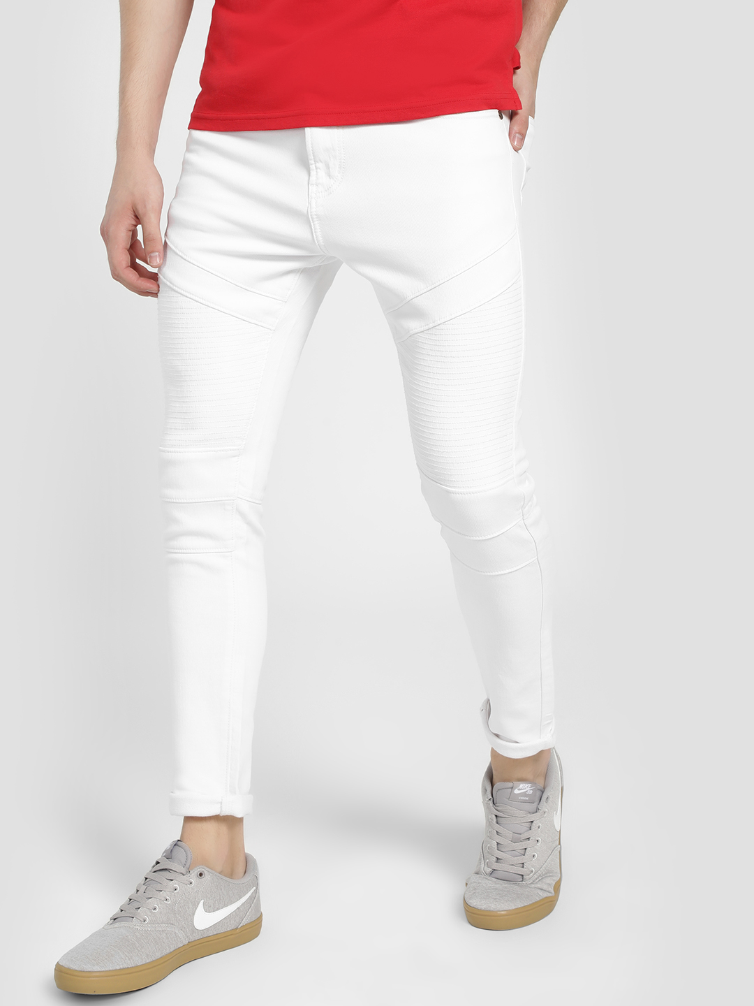 TRUE RUG White Biker Panel Skinny Jeans 1