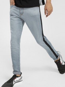 TRUE RUG Contrast Side Tape Skinny Jeans