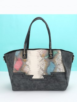 Red Cuckoo Snake Print Panel Tote Bag
