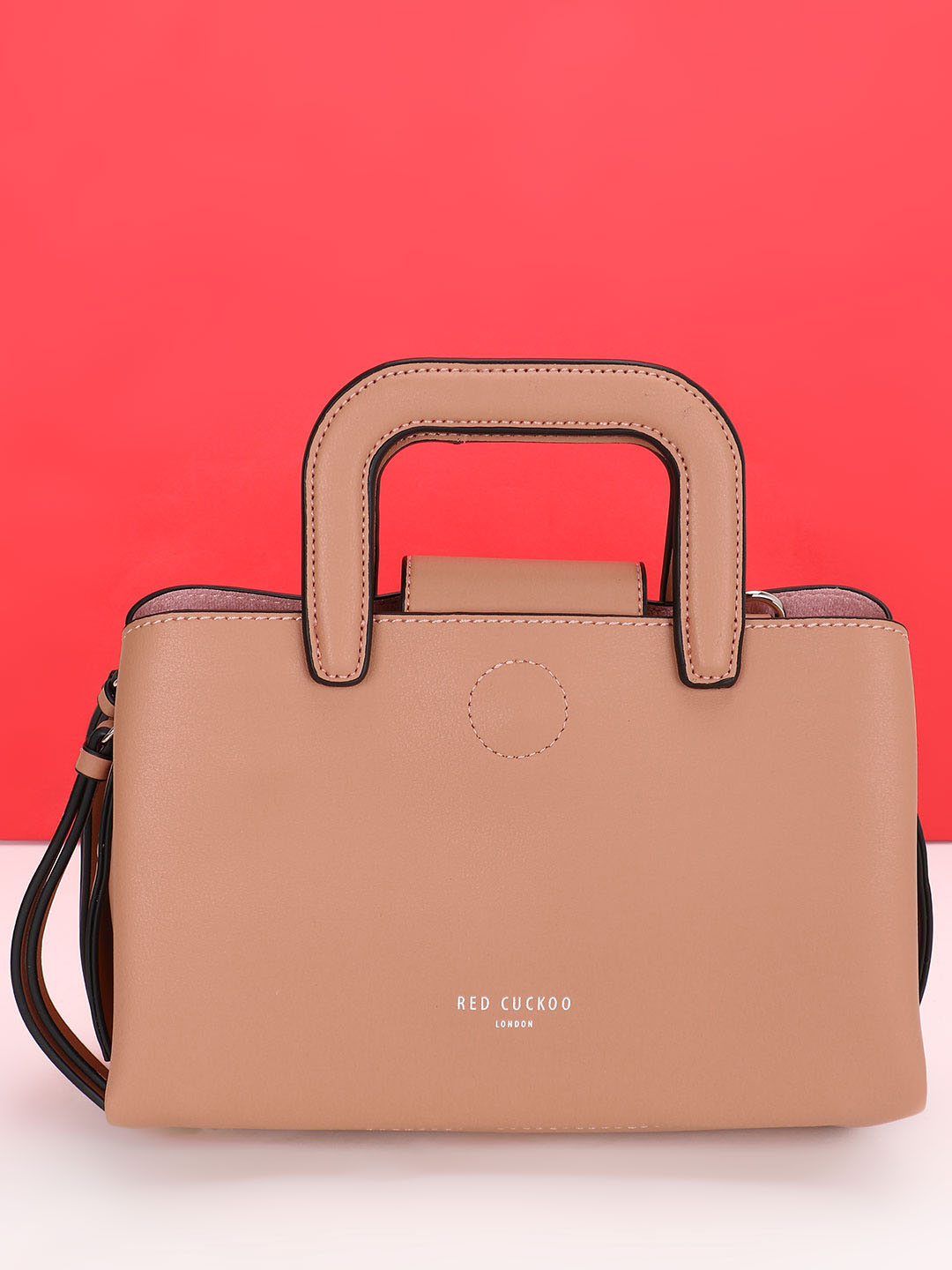 Red Cuckoo Beige Structured Tote Bag 1