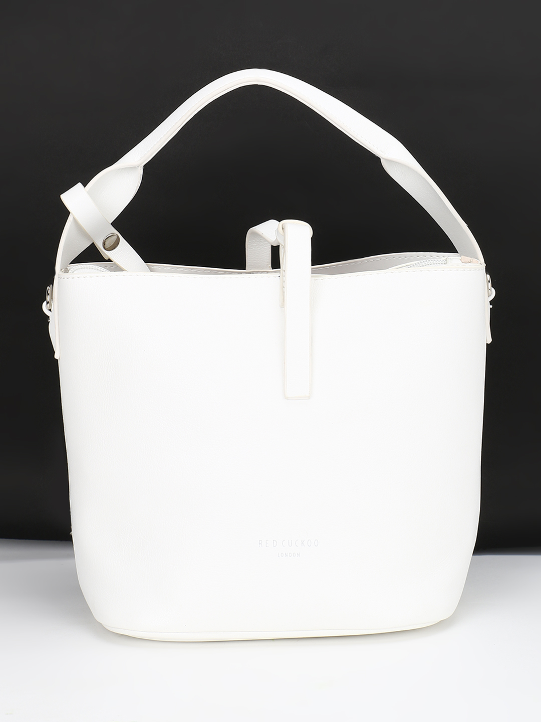 Red Cuckoo White Bucket Tote Bag 1