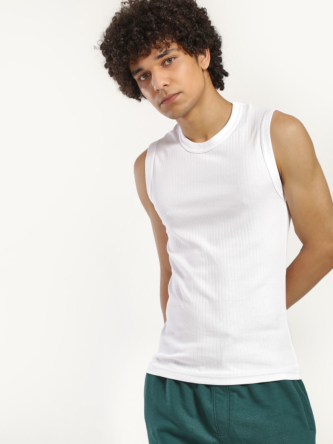 Playboy White Ribbed Crew Neck Vest 1