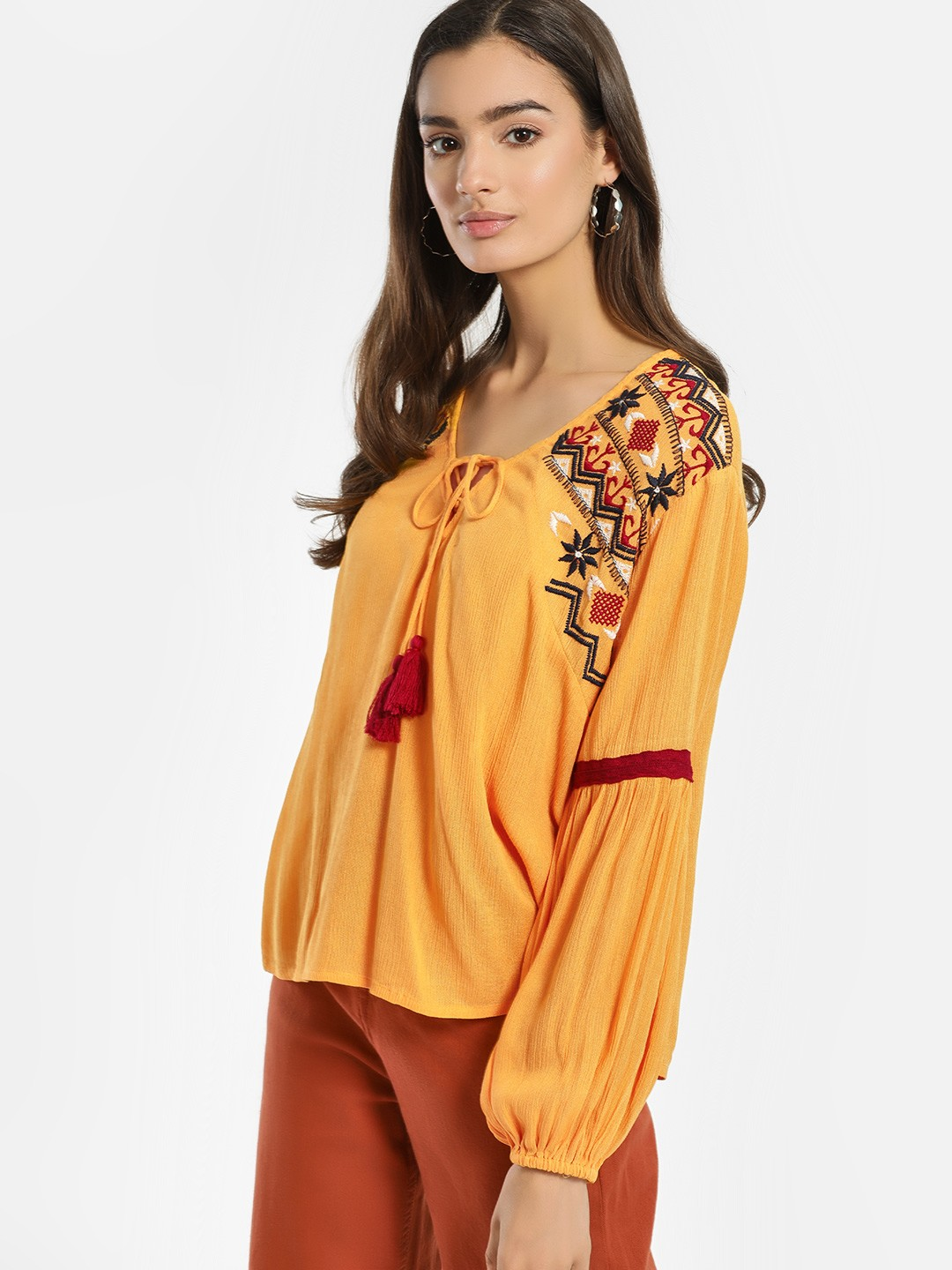 Rena Love Yellow Embroidered Shoulder Blouse 1