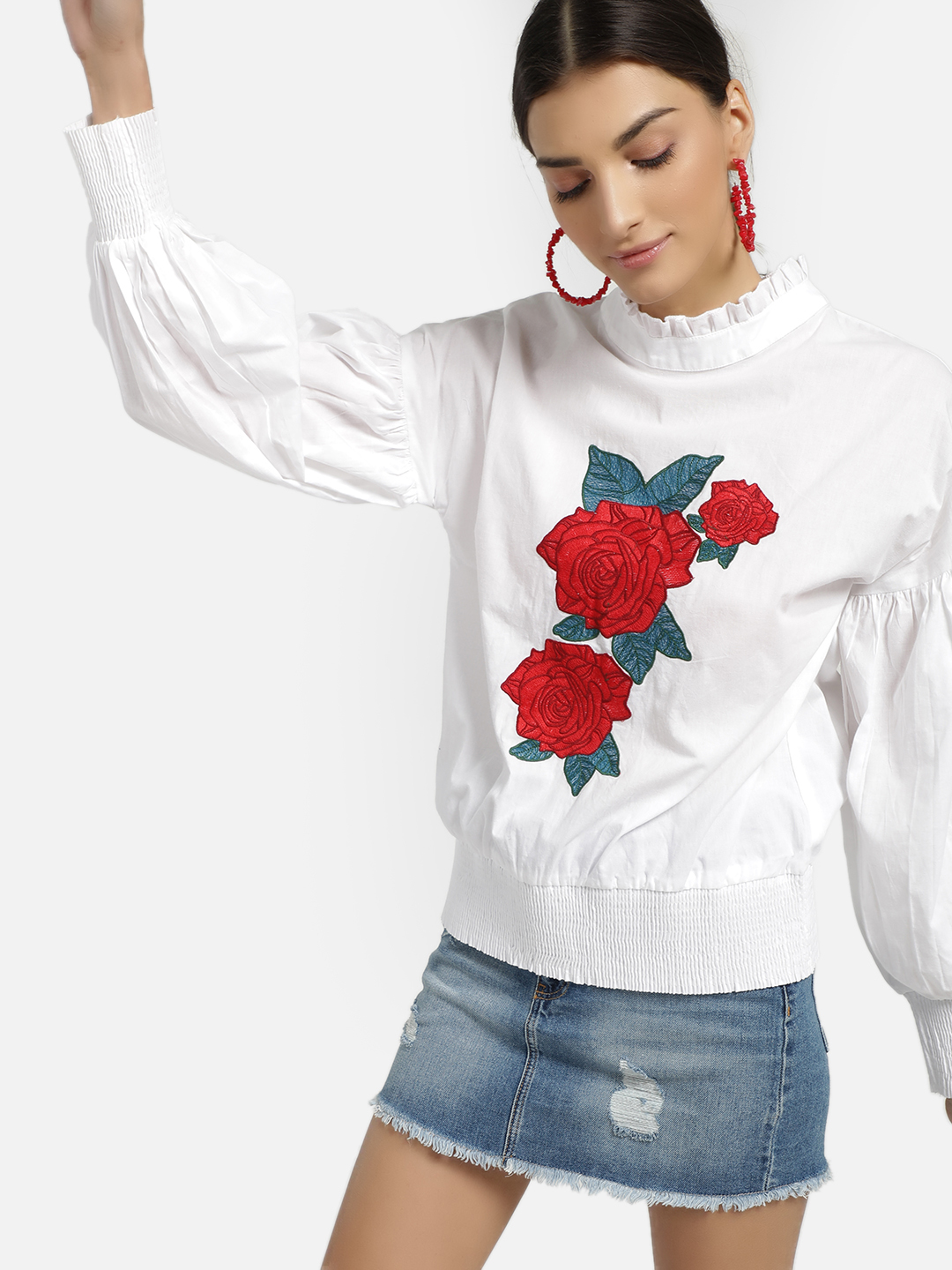 Rena Love White Floral Embroidered Ruffle Neck Blouse 1