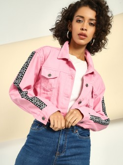 K Denim KOOVS Contrast Side Slogan Cropped Jacket