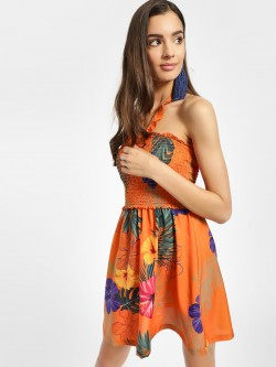 KOOVS Tropical Print Halter Skater Dress