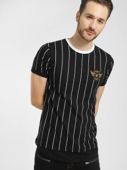 Disrupt Badge Applique Vertical Stripe T-Shirt