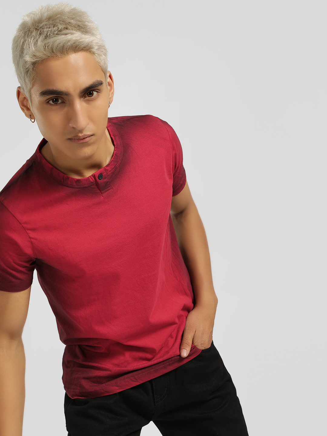Disrupt Red Crew Neck Washed Print T-Shirt 1