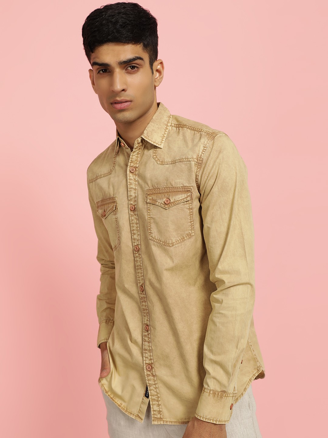 Disrupt Brown Overdyed Front Pocket Casual Shirt 1