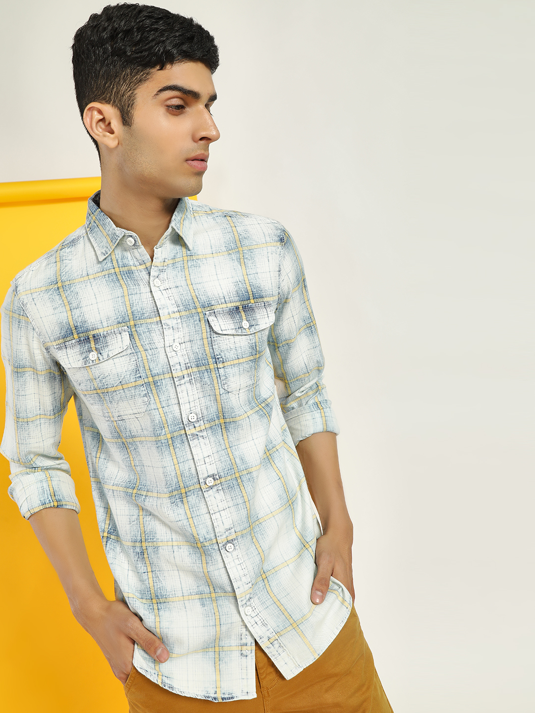 Disrupt White Washed Check Print Casual Shirt 1