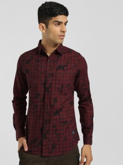 Disrupt Check Floral Print Casual Shirt