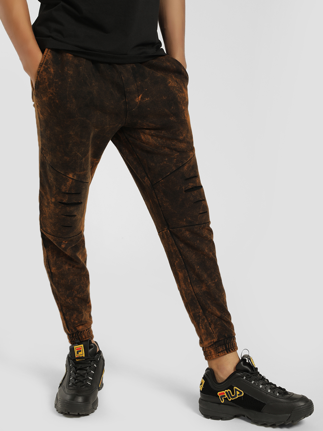 Disrupt Brown Acid Wash Ripped Panelled Joggers 1
