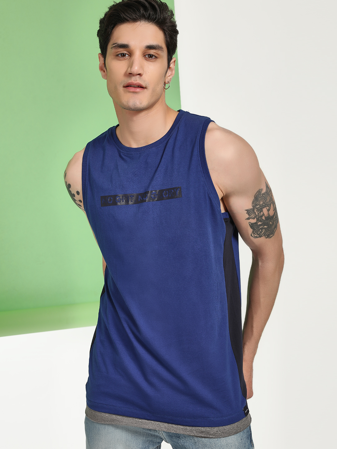 Disrupt Blue Text Print Side Panel Vest 1