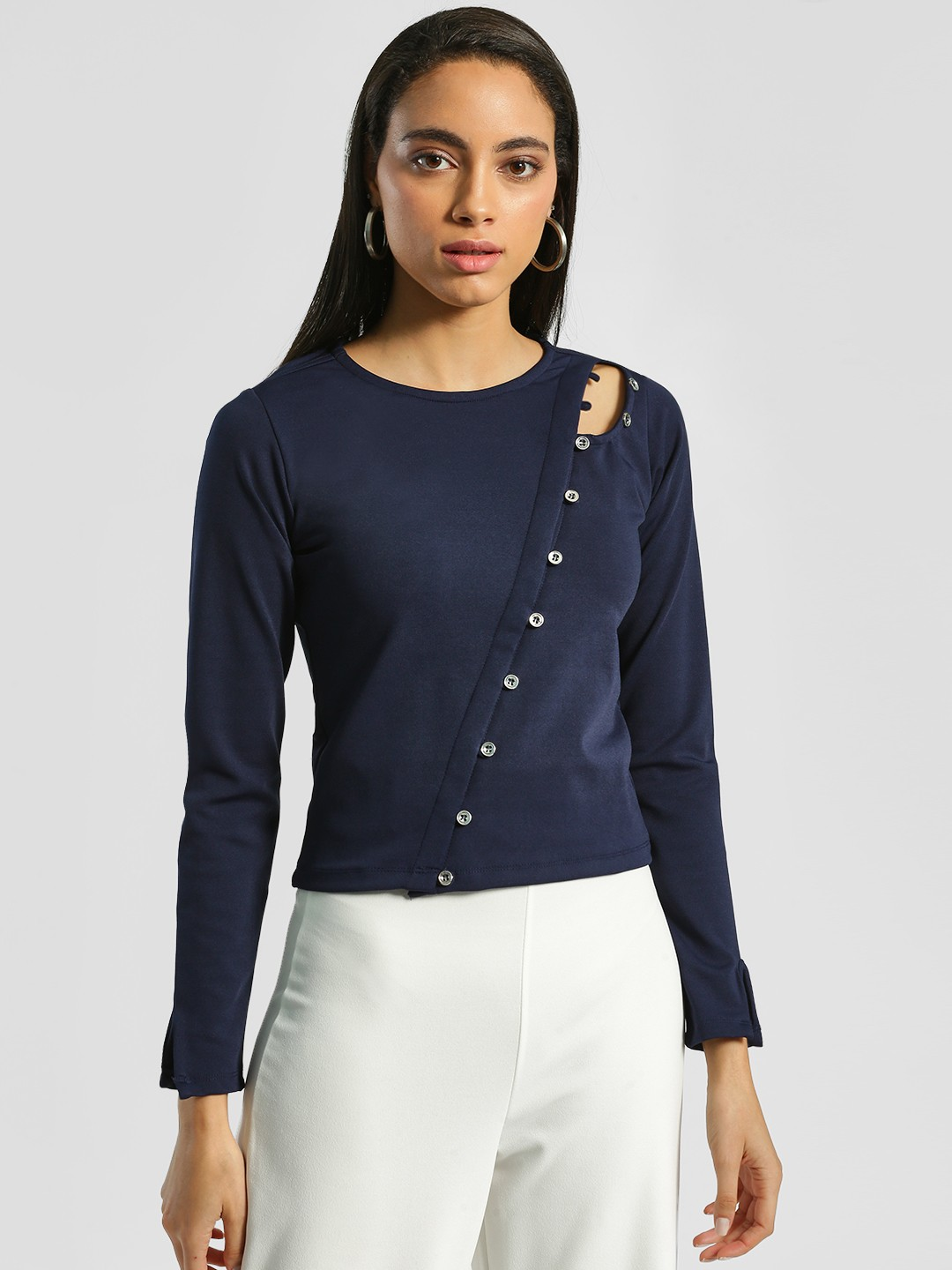 HEY Navy Asymmetric Button Detail Crop Top 1