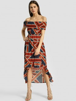 HEY Geometric Print Off-Shoulder Dress