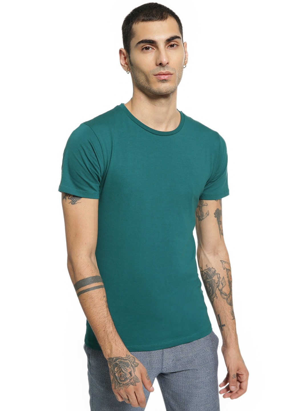 KOOVS Green Crew Neck Muscle Fit T-Shirt 1