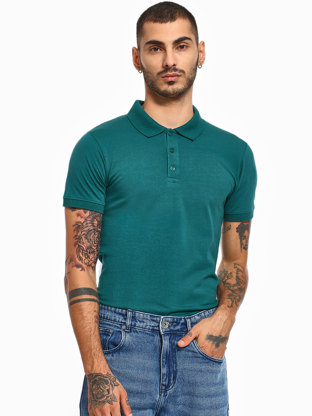 KOOVS Green Muscle Fit Jersey Polo Shirt 1