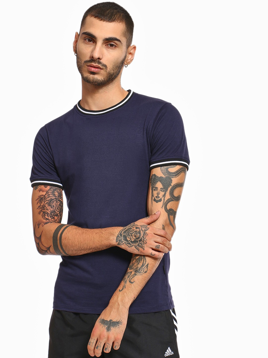 KOOVS Navy Muscle Fit Ringer T-Shirt 1